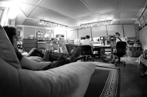 Hanging out downstairs during overdubs
