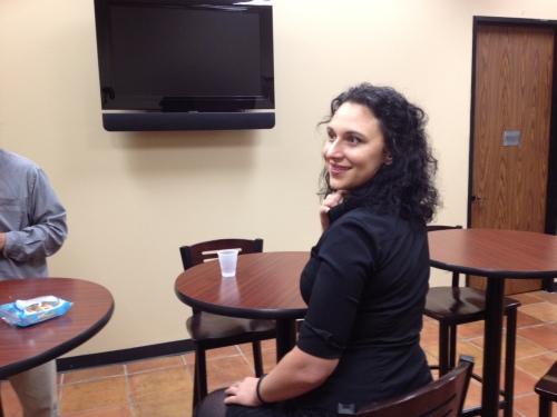 Sarah in the lobby