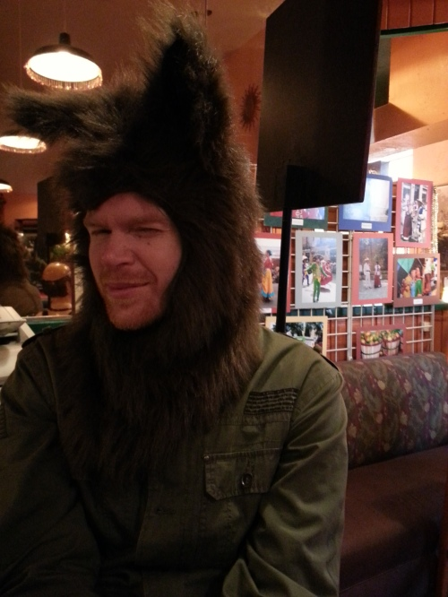 We're pretty sure Ian's never going to take this wolf hat off ever again...